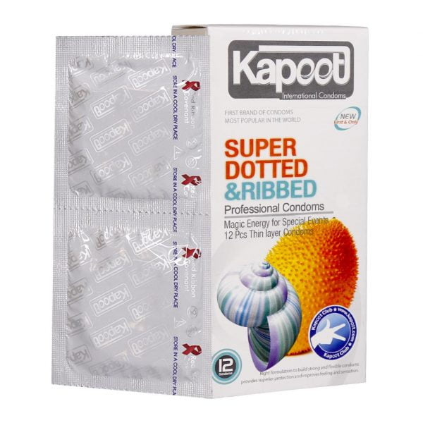 کاندوم خاردار و شیاردار کاپوت مدل Super Dotted And Ribbed
