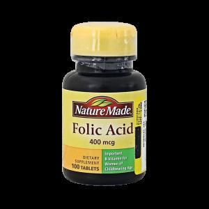قرص اسید فولیک ۴۰۰ میکروگرم نیچرمید ۱۰۰ عددی