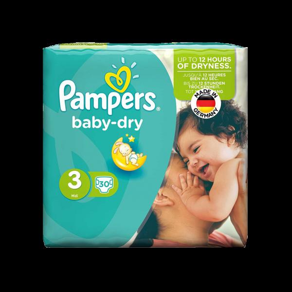 پوشک سایز ۳ پمپرز مدل baby dry بسته ۳۰ عددی
