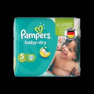 پوشک سایز ۵ پمپرز مدل baby dry بسته ۲۳ عددی