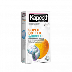 کاندوم خاردار و شیاردار کاپوت مدل Super Dotted And Ribbed تعداد ۱۲ عدد