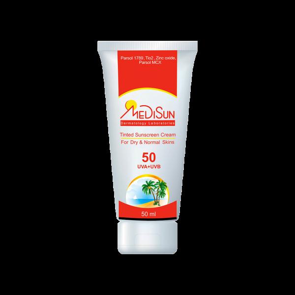 کرم ضد آفتاب رنگی SPF50 مدیسان مناسب پوست معمولی و خشک
