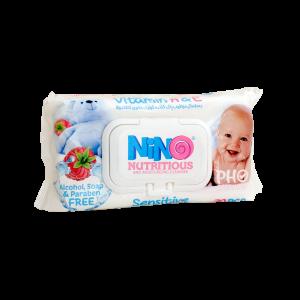 دستمال مرطوب پاک کننده کودک نینو حاوی کالاندولا ۷۰ عددی