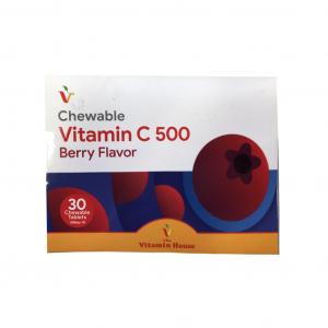 قرص ویتامین سی جویدنی 500 میلی گرم ویتامین هاوس با طعم توت 30 عدد