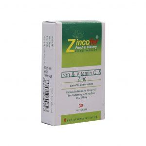 قرص زنیکوفر حاوی آهن زینک ویتامین ث داروسازان ماد 30 عددی
