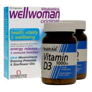 کپسول ول وومن اورجینال ویتابیوتیکس به همراه 2 عدد قرص ویتامین D هلث اید