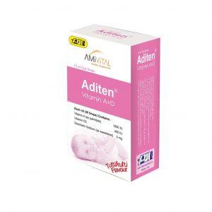قطره آدیتن ویتامین آ+د امی ویتال با طعم توت فرنگی 15 میلی لیتر
