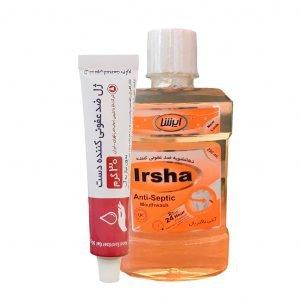 ژل ضد عفونی کننده دست فارماشیمی 30 گرم همراه با محلول دهانشویه ضدعفونی کننده ایرشا